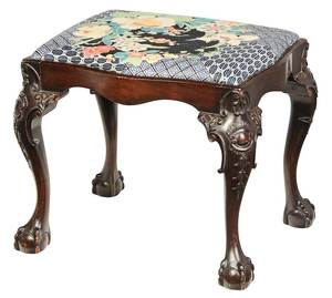 Chippendale Style Carved Mahogany Footstool