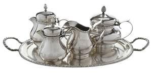 Four Piece Italian Silver Tea Service with Tray
