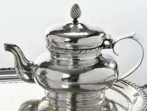Four Piece Italian Silver Tea Service with Tray