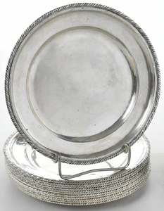 Eighteen Italian Silver Plates