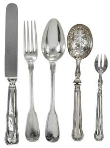 Italian silver flatware, 39 Pieces