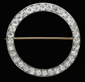 Art Deco Platinum Diamond Circle Brooch