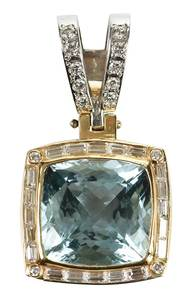 14kt. Aquamarine & Diamond Pendant