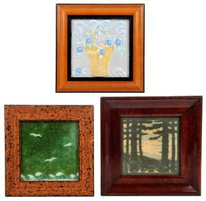 Three Pottery Framed Arts & Crafts Tiles