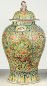 Two Pairs of Chinese Decorated Temple Jars