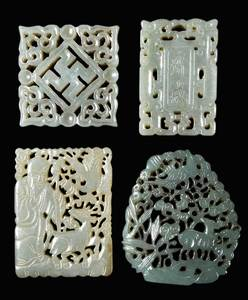 Four Carved Jade/Hardstone Plaques