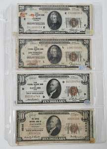 Eight U.S. 1929 Federal & National Notes