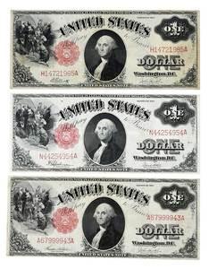 Three 1917 Legal Tender $1 Notes