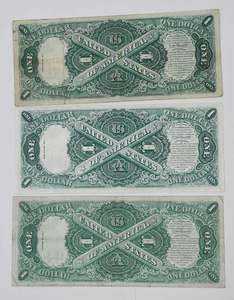 Three 1917 Legal Tender $1 Notes
