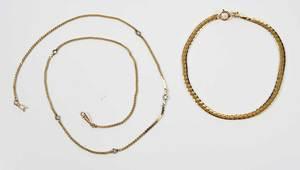 14kt. Diamond Necklace and Bracelet