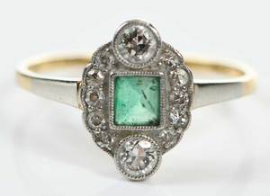 Antique Platinum, 18kt., Emerald & Diamond Ring