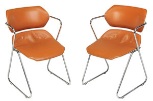 Pair Hugh Acton Orange Leather Stacking Chairs
