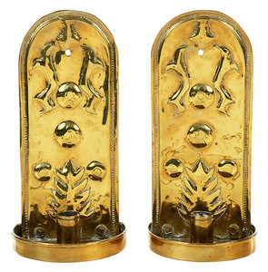 Pair Brass Repoussé Candle Sconces