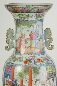 Rose Mandarin Vase With Chilong Handles
