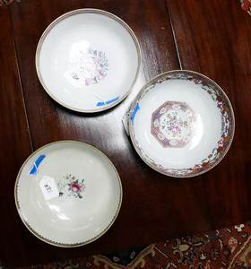 Three Chinese Export Famille Rose Punch Bowls