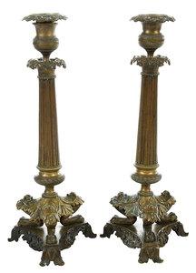 Pair Neoclassical Bronze Candlesticks