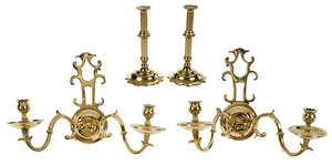 Two Pairs Brass Candlesticks And Sconces