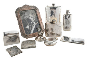 11 Assorted Silver Desk Items
