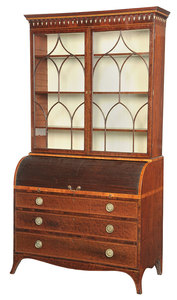 A Fine George III Inlaid Mahogany Cylinder Desk