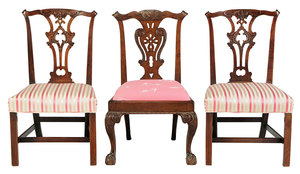 Three Chippendale Carved Mahogany Chairs
