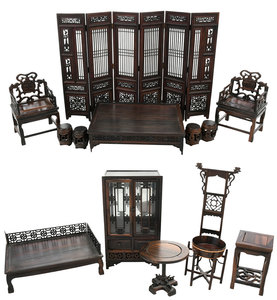 12 Pieces Chinese Miniature Wood Furniture