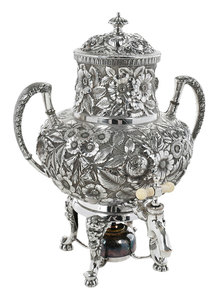Repousse Silver-Plate Hot Water Urn