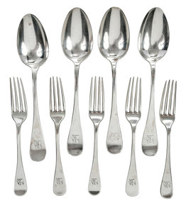 Nine Pieces Sterling Tiffany Flatware