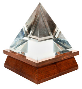 Square Glass Pyramid On Wooden Base