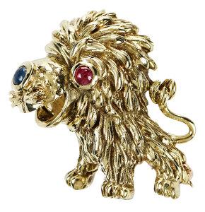 14kt. Gemstone Lion Brooch