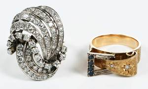 Two Gold & Diamond Retro Rings