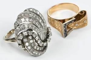 Two Gold & Diamond Retro Rings