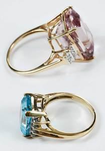 Two 14kt. Gemstone & Diamond Rings