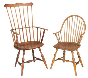 Two American Windsor Open Armchairs