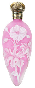 British Cameo Pink and White Scent Bottle
