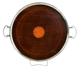 Gorham Inlaid Wood and Sterling Tray