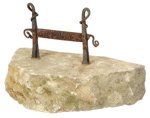Wrought Iron Boot Scraper On Limestone Base