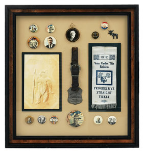 Framed Collection of Teddy Roosevelt Memorabilia