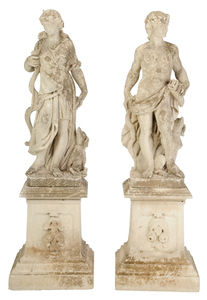 Pair Neoclassical Cast Stone Garden Statues