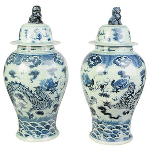 Two Similar Chinese Blue and White Lidded Jars