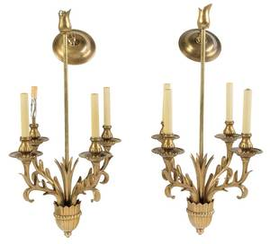 Pair Art Deco Style Brass Chandeliers