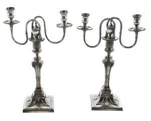 Pair Old Sheffield Plate Candelabras