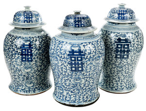 Three Chinese Blue and White Lidded Jars