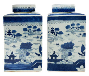 Pair Small Square Chinese Blue and White Jars