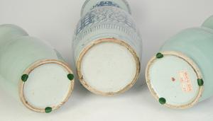 Three Chinese Blue and White Vases