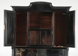 Mahogany And Black Painted Mirror Backed Cabinet