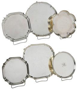 Six English Silver Trays