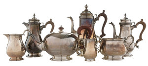 Seven English Silver Tea and Related Items