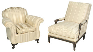 Two Modern Upholstered Arm Chairs