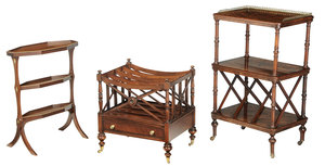 Three Regency Style Canterbury, Occasional Tables