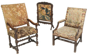 Two Tapestry Upholstered Armchairs and Firescreen